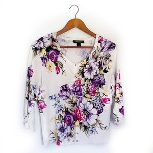 WHBM Floral Snap Button Cardigan